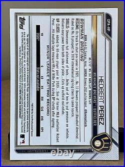 2021 Bowman Chrome Hedbert Perez Auto /75 Brewers 1st RC Yellow READ Details