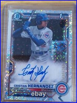 Cristian Hernandez Rc 2021 Bowman Chrome 1st Speckle Auto Cubs 100/299