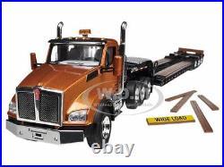 Kenworth T880 Tri Axle Lowboy Trailer Aztec Gold/black 1/50 First Gear 50-3284