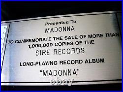 Madonna First Album Lp Riaa Platinum Sotheby's Presented To Madonna Record Award