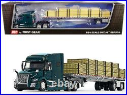 VOLVO VNL 760 WithWILSON TRAILER & LUMBER LOAD GREEN 1/64 DCP/FIRST GEAR 60-0641